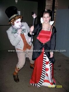Homemade Mad Hatter and Queen of Hearts Costumes: Me and my boyfriend Roger decided to go as the Mad Hatter and me as the Queen of hearts. We try to go all out every year on Halloween being our anniversary