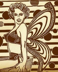 Retro Pin-up Linocut Sexy Vintage Lingerie Mid by Printmistress888 $70 Judith Hladik-Voss  https://www.etsy.com/listing/45098228/retro-pin-up-linocut-sexy-vintage?ref=listing-shop-header-3