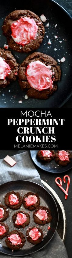Look no further for the perfect cookie for any winter holiday celebration than these Mocha Peppermint Crunch Cookies! A soft and chewy espresso infused chocolate cookie is topped with a puddle of peppermint crunch candy before being showered with crushed candy cane.