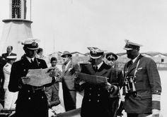 December 18, 1939: From left to right; Kapitänleutnant Jürgen Wattenberg, Kapitän zur See Hans Langsdorff  and Kapitän zur See Walter Kay in...