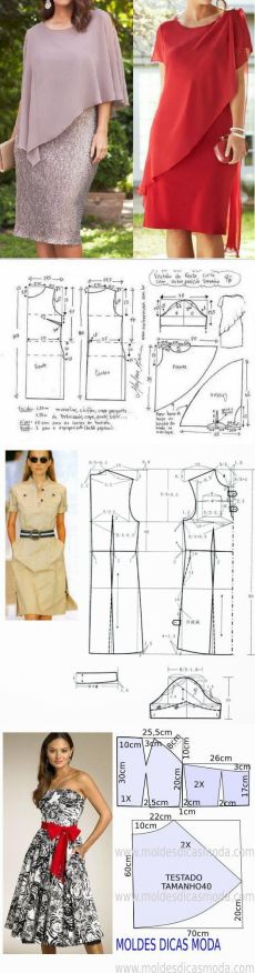 Masters and clever men: Simple and beautiful patterns of summer dresses. Easy Sewing Patterns, Clothing Patterns, Dress Patterns, Lace Evening Dresses, Nice Dresses, Summer Dresses, Fashion Sewing, Diy Fashion, Vestidos Sport