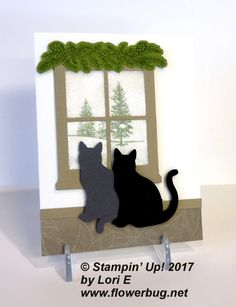 This is where you place clear packing tap sticky side up on the back side of her Window framelit. Then sprinkle with our Dazzling Diamonds glitter. Cat Christmas Cards, Xmas Cards, Christmas 2019, Card Making Inspiration, Making Ideas, Pet Sympathy Cards, Window Cards, Dog Cards, Fun Fold Cards