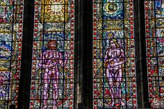 Stained glass windows in St Mungo's Cathedral Glasgow 5 Glasgow Cathedral, Scotland Travel, The St, Cathedrals, Stained Glass Windows, Saints, Beautiful, Stained Glass Panels, Stained Glass