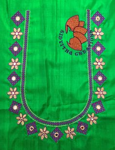 @Sidvitha Creations Embroidery Neck Designs, Bead Embroidery Patterns, Embroidery Works, Mirror Work Blouse Design, Hand Work Design, Computerized Embroidery Machine, Kutch Work, Silk Saree Blouse Designs, Designer Blouse Patterns