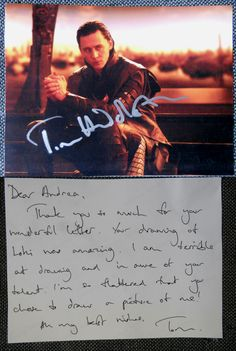 Tom Hiddleston, Loki...THAT'S SO SWEET! I love that he wrote back! I need to write him a letter...oh my gosh he's so amazing!