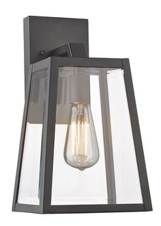Features:  -Can be used outdoors.  -Maximum wattage: 100 Watt E26 Filament Bulb.  -Enclosed bottom: No.  Fixture Type: -Wall lantern.  Shade Material: -Glass.  Bulb Included: -Yes.  Bulb Wattage: -100