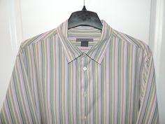 John Varvatos Designer 100% Light Cotton Green/Pink Striped Shirt SZ XL Mint #JohnVarvatos #ButtonFront