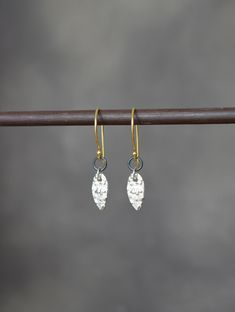 Sterling silver, oxidised silver and 24k gold vermeil earrings. Dangle earrings. Hook earrings. 925 silver earrings. Gift for her