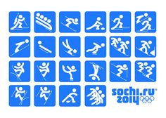 "Sochi 2014 Organizing Committee unveiled the pictograms of the 2014 Winter Olympic Games. The pictograms are based on those of the 1980 Summer Olympic Games in Moscow and, as the press release states, ""taking into account modern views. Winter Olympics 2014, Winter Olympic Games, Winter Games, Olympic Medals, Olympic Sports, Olympic Icons, Theme Sport, Vive Le Sport, Olympic Idea"