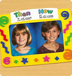 then and now picture frames for end of the year gift next year? take picture on first and last day of school