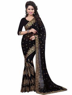 Designer Georgette Party Wear Black Saree