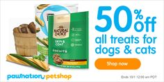 50% OFF ALL TREATS for dogs and cats at PawNation Pet Shop. BEST PRICE guarantee. http://www.pawnation.com/shop