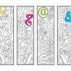 One PDF coloring page of 4 bookmarks, each with an alphabet letter or symbol in many different fun fonts! This set contains letters: Y, Z, @ (at symbol), and & (ampersand). Colouring Pages, Coloring Sheets, Coloring Books, Book Markers, Monogram Alphabet, Illuminated Letters, Interactive Notebooks, Cool Fonts, Book Making