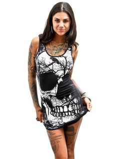 e9e3984ed0 Ailunsnika 2018 New Halloween sexy Women Dress Fashion Skull 3D print mini  dress FN6009