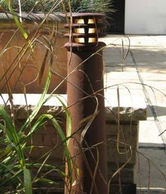 Tapered Rusty Exterior Bollard Light 300mm or 700mm High. E27 or LED version.