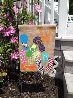 Flip Flop Summer Burlap Garden Flag