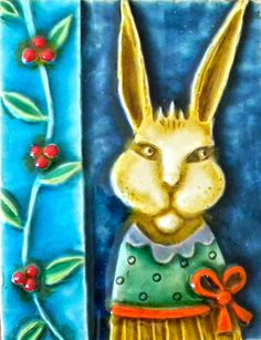 'Ivy Crop' Ceramic Tile by Lisa Muller Ceramic Artist ★༺❤༻★