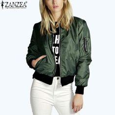 905e444171ba8 Zanzea 2018 Fashion Women Solid Celeb Bomber Long Sleeve Thin Jacket Coat  Casual Stand Collar Slim Short Outerwear Plus Size