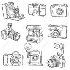Set of retro vintage photo cameras vector by igorij on VectorStock® - Drawing Camera Sketches, Camera Drawing, Camera Art, Film Camera, Camera Doodle, Camera Painting, Camera Hacks, Camera Illustration, Photography Illustration