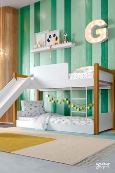 Find more boy themed bedrooms with Circu Toddler Bunk Beds, Toddler Rooms, Kid Beds, Boy And Girl Shared Room, Girl Room, Room Ideas Bedroom, Baby Room Decor, Gender Neutral Bedrooms, Sister Room