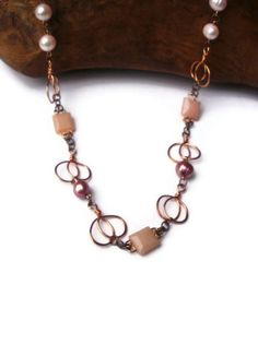 Copper Sweetheart Loop Square Peruvian Pink by JewelleryByShalotte, £40.00