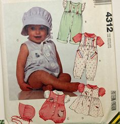 Vintage 1980s Sewing Pattern McCall's 4312 Infants