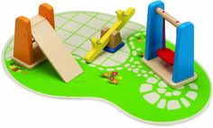 Amazon.com: Hape Wooden Doll House Furniture Playground Set and Accessories: Toys & Games