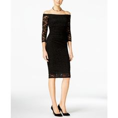 Inc International Concepts Off-The-Shoulder Lace Sheath Dress, ($100) ❤ liked on Polyvore featuring dresses, deep black, sheath cocktail dress, going out dresses, lace dress, inc international concepts dresses and off the shoulder dress