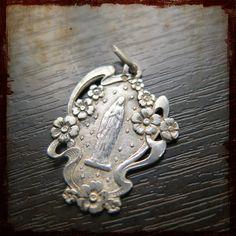 Antique Religious Virgin Mary of Lourdes Sterling Silver French Medal - Art Nouveau Vintage Souvenir pendant