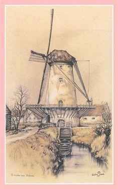 Molen in Oskam, Anton Pieck by cheri Windmill Art, Windmill Tattoo, Painting & Drawing, Watercolor Paintings, Anton Pieck, Dutch Painters, Dutch Artists, Le Moulin, Gravure