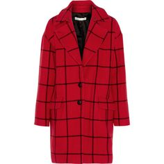 Rebecca Minkoff Forde checked wool-blend coat (€265) ❤ liked on Polyvore featuring outerwear, coats, check, coats & jackets, jackets, crimson, rebecca minkoff, red coat, rebecca minkoff coat and oversized coat