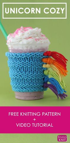 How to Knit a Unicorn Drink Cozy with Studio Knit | Free Knitting Pattern + Video Tutorial  #StudioKnit #knittingpattern