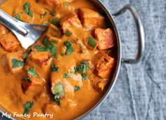 Restaurant Style Paneer Tikka Masala (substitute tofu for paneer; use almond milk; use coconut yogurt; omit butter).