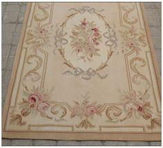 3X5 Aubusson Area Rug - ANTIQUE FRENCH PASTEL Wool Handmade Flat Weave Carpet | eBay