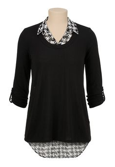 3/4 sleeve 2fer houndstooth print top (original price, $29) available at #Maurices