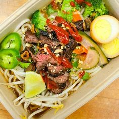 Garlic And Soy-glazed Beef Stir-Fry  from Asian Box  the recipe in pic has chilled rice noodles, bean sprouts, and  caramel egg and probably Asian Street Dust (a dirty blend of