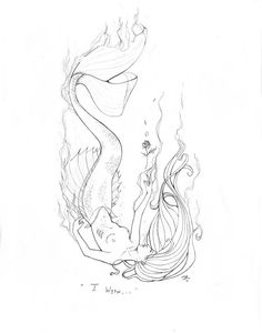 Original Pencil Drawing  I Wish The Little Mermaid by sAm26, $55.00
