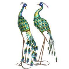 Elephant Sculpture, Bird Sculpture, Sculptures, Outdoor Garden Statues, Acrylic Gems, Blue And Green, Bird Statues, Iron, Hand Painted