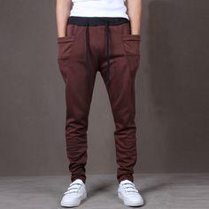 bee245d8406b82 Casual Men Pants Hot Sale Unique Big Pocket Hip Hop Harem Pants Fitness  Clothing Quality Outwear