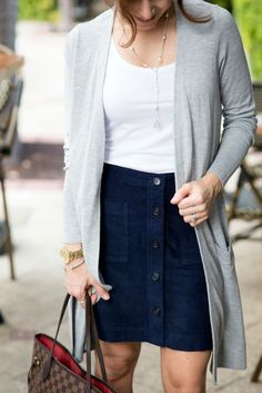 Love this cardi and skirt combo