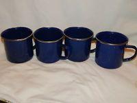 4 Blue Speckled Enamelware Enamel Ware Graniteware Coffee Cups Mugs Camping