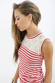 Blusen, Tops & Tuniken - Shirt Freshh in rot-creme gestreift - ein Designerstück von Shoko bei DaWanda