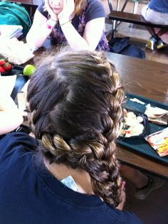 two french braids into one side french braid: great for soccer girls!! -created by Megan Borzych