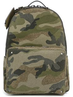 VALENTINO 'Rockstud' Camouflage Backpack. #valentino #bags #leather #wool #backpacks #