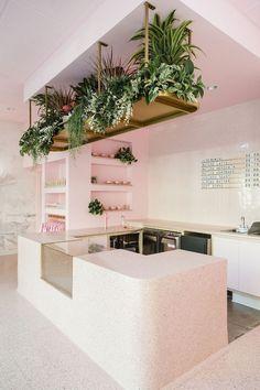 "Pink modern cafe design garden modern We Know You'll Love This Cute Pink Café So ""Matcha"" Too—Take the Tour Hair Salon Interior, Salon Interior Design, Interior Design Photos, Interior Modern, Interior Decorating, Salon Design, Home Salon, Decorating Games, Pastel Interior"