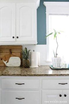 kitchen bright blue walls white cabinets subway tile absolute rh pinterest com