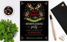 Christmas party invitations, Ornament exchange invitation instant download, Christmas invitations, Christmas invitations template by PrintablesForEvents on Etsy