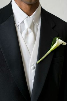 The classic white with black #mens suit #grooms suit
