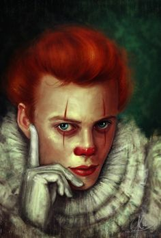 Well, this was sort of another experiment that sort of turned out into a full painting. It's a bit different than my usual work, I guess, but . Almost Human Chucky, Clown Names, Bill Skarsgard Hemlock Grove, Its 2017, Pennywise The Dancing Clown, Arte Horror, Clown Horror, Horror Art, Best Horror Movies