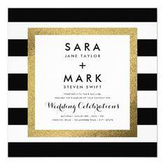 #weddinginvitation #weddinginvitations (Black & White Stripes with Gold Foil Wedding Card) #BlackAndWhiteStripes #Bold #Chic #Designer #Gold #Luxury #Matching #ModernWedding #Monochrome #Premium #Simple #StripedWedding #Stripes #Stylish #Trendy #Wedding is available on Custom Unique Wedding Invitations  store  http://ift.tt/2ajJxUa
